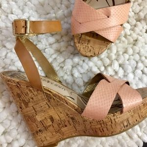 Sam & Libby peach platform wedge cork sz6
